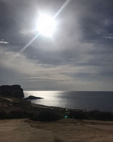 Sea in Gozo with a beautiful sun